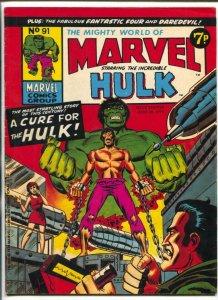 Mighty World Of Marvel #91 1974- Hulk- British comic VG