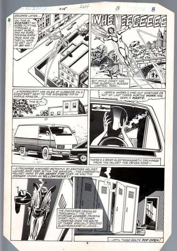 Avengers #264 Original Art Page 6- Buscema / Tom Palmer Wasp 1st Yellowjacket