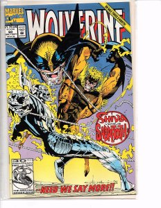Marvel Comics Wolverine #60 Gambit Sunfire Shiva vs Sabretooth NM