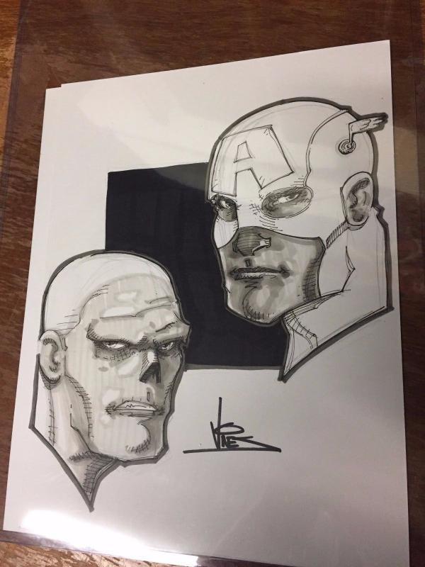 DEXTER VINES ORIGINAL Art Sketch Captain America & Red Skull Marvel Comics TWT1