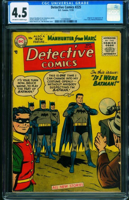 Detective Comics #225 CGC 4.5 1955-BATMAN 1st Martian Manhunter 1250906001