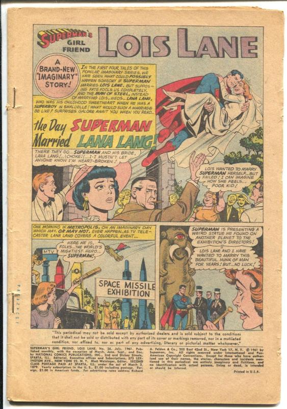 Superman's Girlfriend Lois Lane #26 1961-DC-Lana Lang-P