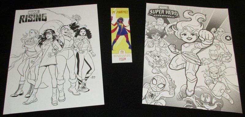 Marvel Rising Superhero Adventures Folded 10 x 13 Coloring Posters & Bookmark
