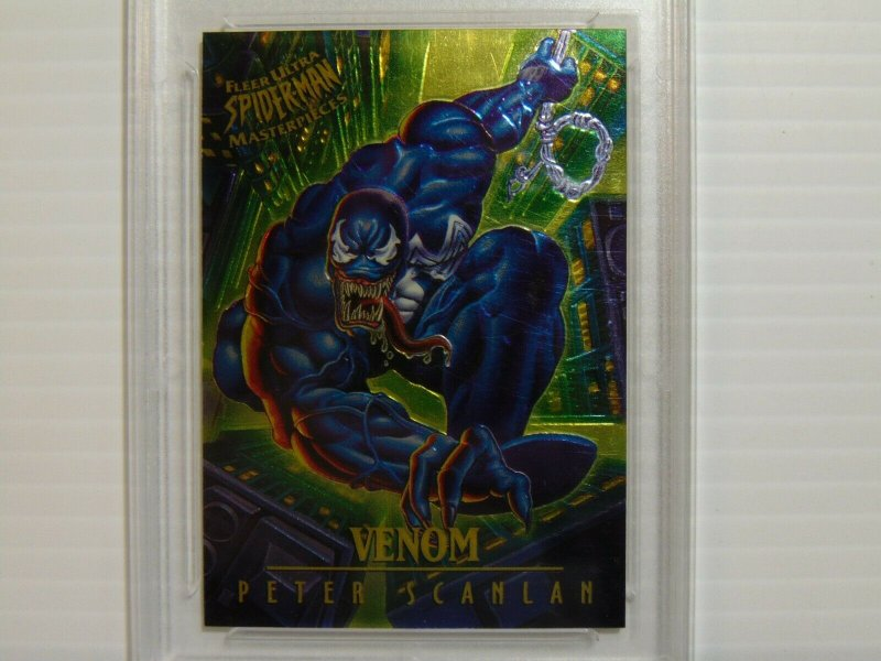 1995 Ultra Spider-Man Golden Web Venom #9 Chromium Card - Graded NM-MT 8