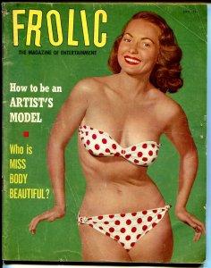 Frolic 12/1953-Betty Bettie Page pix-cheesecake-swimsuit-Woman In Mask-VG