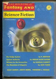 Magazine of Fantasy & Science Fiction 2/1966-Mercury-Isaac Asimov-Judith Merr...