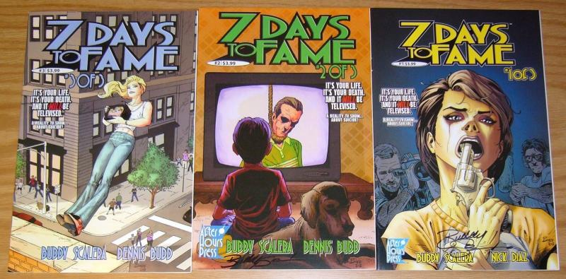 7 Days to Fame #1-3 VF/NM complete series - signed - REALITY TV SHOW ON SUICIDE
