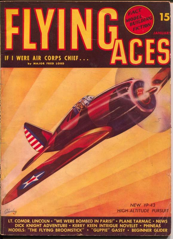 Flying Aces 1/1941-August Schomburg-YP-43 High Altitude Pursuit plane-hero pulp-
