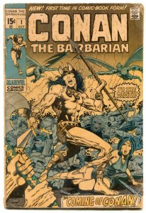 Conan the Barbarian #1 1970 -- BRONZE AGE KEY--MARVEL BARRY SMITH g/vg