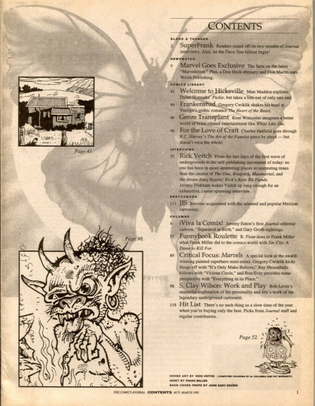 Comics Journal #175 1995- Rick Veitch- S Clay Wilson comic fanzine