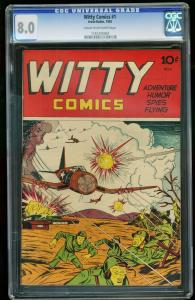 WITTY COMICS #1-1945-CGC 8.0-WILD WWII COVER-SOUTHERN STATES 1161205004