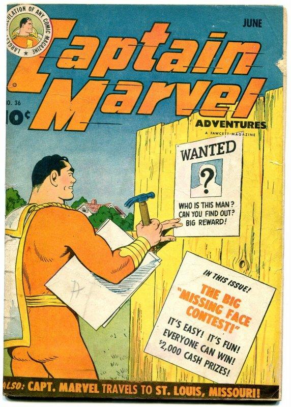 Captain Marvel Adventures #36 1944- Fawcett Golden Age- poor