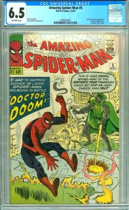 Amazing Spider-Man #5 (CGC 6.5) O/W p; 1st Doctor Doom app. outside FF