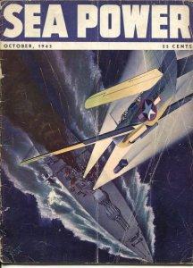 Sea Power 10/1943-McClelland Barclay cover art-war pix &info-rare-G/VG