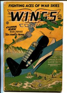 Wings #46 1944-Fiction House-WWII-Hitler-bondage splash panel-air war-G