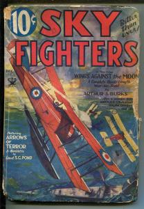 SKY FIGHTERS 12/1933-AIR WAR PULPS-WWI-CLASSIC-RARE-good