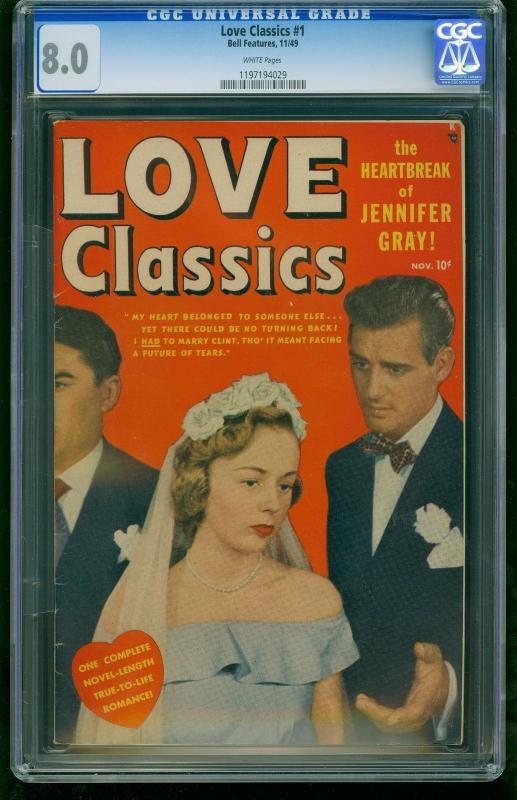 LOVE CLASSICS #1-1949-CGC 8.0-WHITE PAGES!!-MARVEL-SOUTHERN STATES 1197194029