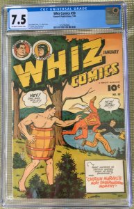 WHIZ COMICS #50 CGC 7.5 -- O/W to WHITE PAGES! C.C. BECK! CAPTAIN MARVEL SHAZAM!