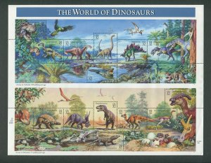 Dinosaurs of the World US Postage Stamp Commemorative Sheet  1996