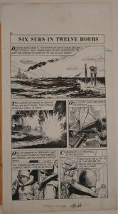 Original art, WORLD AROUND US #12 pg 66, 12x 23, 1959, Coast Guard, War, U-Boats