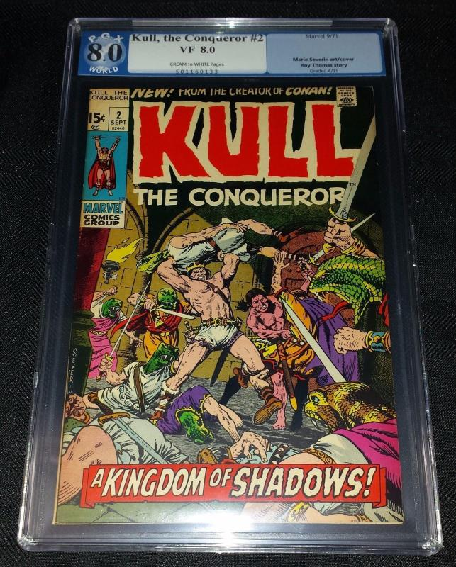 Kull The Conqueror #2 (Marvel, 1971) PGX/CGC 8.0 VF Cream to Off-White Pages