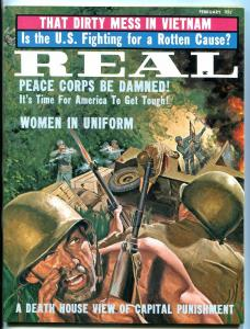 Real Magazine February 1964-PEACE CORPS-BLOODY WAR COVER FN