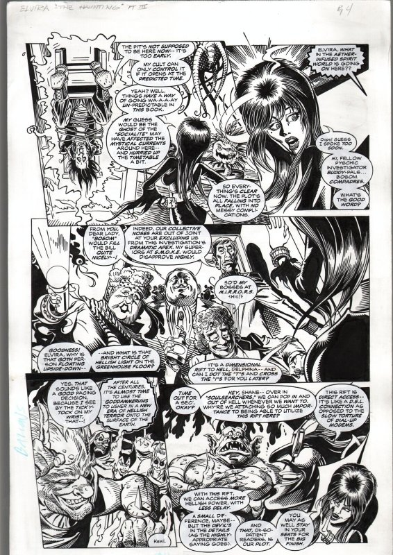 TOD SMITH ELVIRA #125--THE HAUNTING---ORIGINAL ART PAGE 4-QUEEN 'B' PRODUC FN