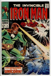 IRON MAN #4, VF/NM, Tony Stark, Robot, Johnny Craig, ,1968, Unconquered Unicorn