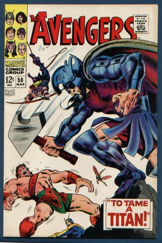 Avengers  #50 VF/NM 9.0 Hercules quits the Avengers!