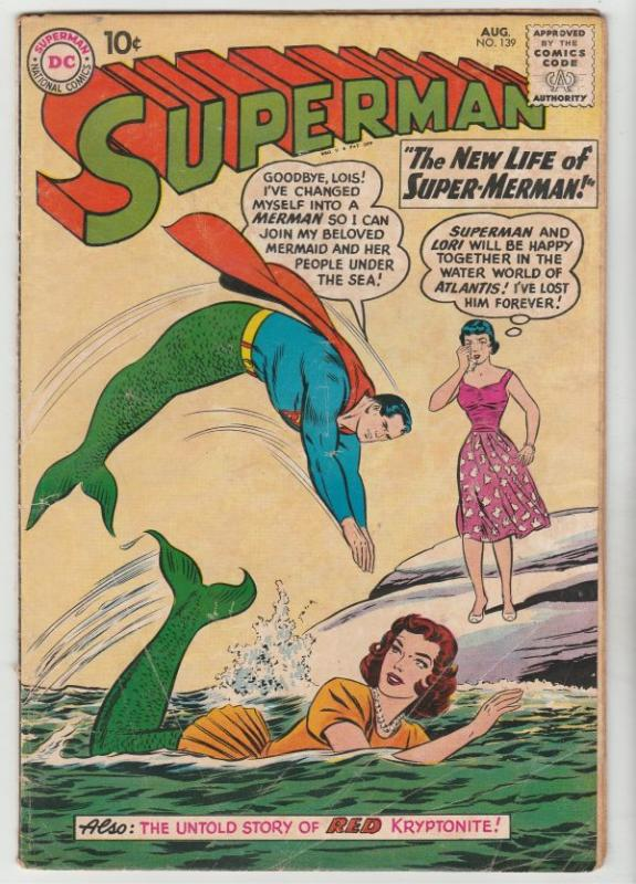 Superman #139 (Aug-60) VG+ Affordable-Grade Superman, Jimmy Olsen,Lois Lane, ...