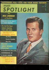 MUSIC SPOTLIGHT MAGAZINE #1 JAN 1958-EARTHA KITT-ELVIS VG