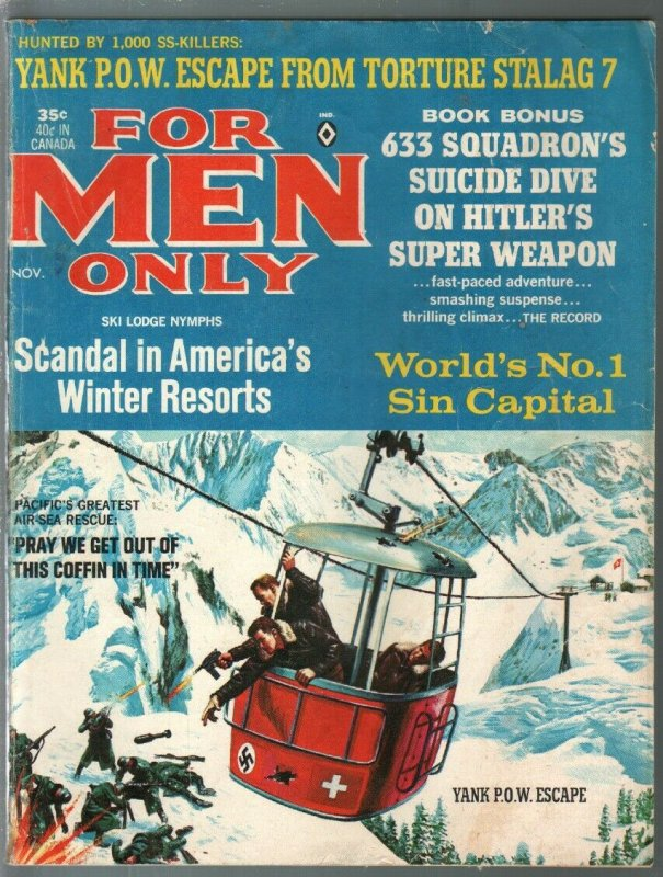 For Men Only 11/1964-Atlas-P.O.W. escape cover-Bruce Minney-Earl Norem-VG