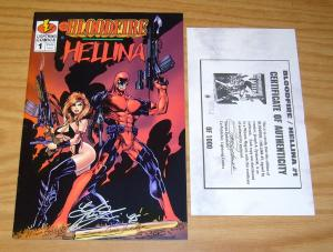 Bloodfire/Hellina #1 VF/NM lightning comics signed w/COA (#582 of 1,000)