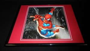 Amazing Spiderman Swinging Above the City at Night Framed 11x14 Photo Display