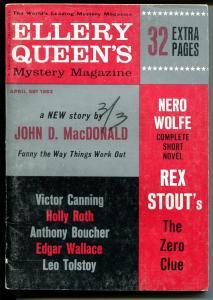 Ellery Queen's Mystery Magazine 4/1963-John D MacDonald-pulp crime & thrills-VG