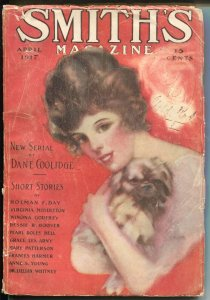 Smith's Magazine 4/1917-S. Knox pretty girl cover-pulp fiction-Coolidge-Day-G/VG