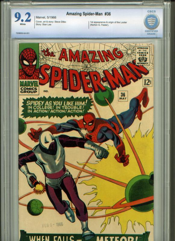 Amazing Spider-Man #36 CBCS 9.2 WHITE pages (like CGC)  1st app  of The Looter