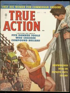 TRUE ACTION JULY 1959-GGA-SHIPWRECKED NUDE-BIG WOMEN-BRUSE MINNEY ART-RARE! VF