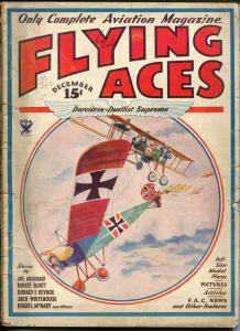 Flying Aces 12/1933-2nd bedsheet issue-WWI aviation pulp thrills-Keyhoe-G/VG