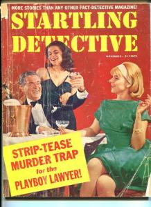 STARTLING DETECTIVE-NOV 1964-SPICY-MURDER-RAPE-STRANGULATION-STRIP-TEASE VG