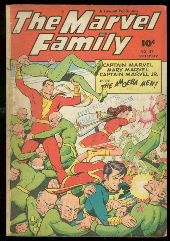 MARVEL COMICS #27 1948-FAWCETT-AMOEBA MEN-CAPT MARVEL VG