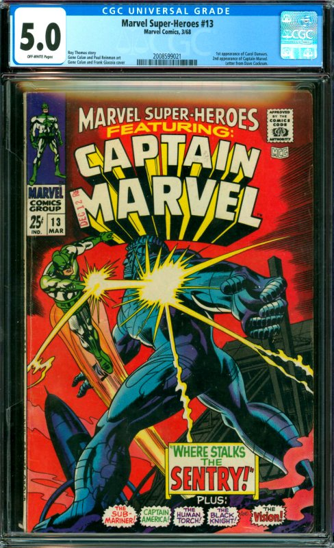 Marvel Super-Heroes #13 CGC Graded 5.0 1st appearance of Carol Danvers. 2nd a...