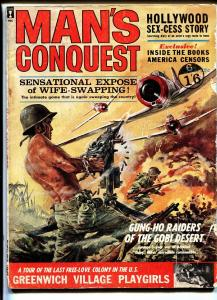 Man's Conquest Magazine April 1963-WWII-Cheesecake-American Censorship