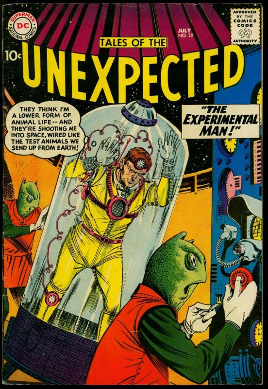 Tales of the Unexpected #39 1959- Experimental Man- DC sci-fi comic- FN-