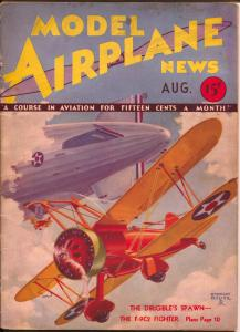 Model Airplane News-8/1932-pulp air war style cover-Stewart Rouse-VG+