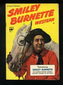 SMILEY BURNETTE WESTERN #1-PHOTO COVER-FAWCETT-1950 FN/VF