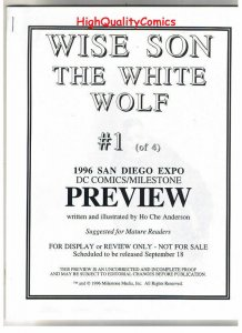 WISE SON, WHITE WOLF #1 Black and White Promo, 1996, VF/NM, Preview, more in