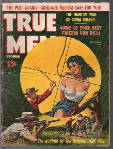 True Men 9/1960-woman being hung on cover-war-crime-cheesecake-G
