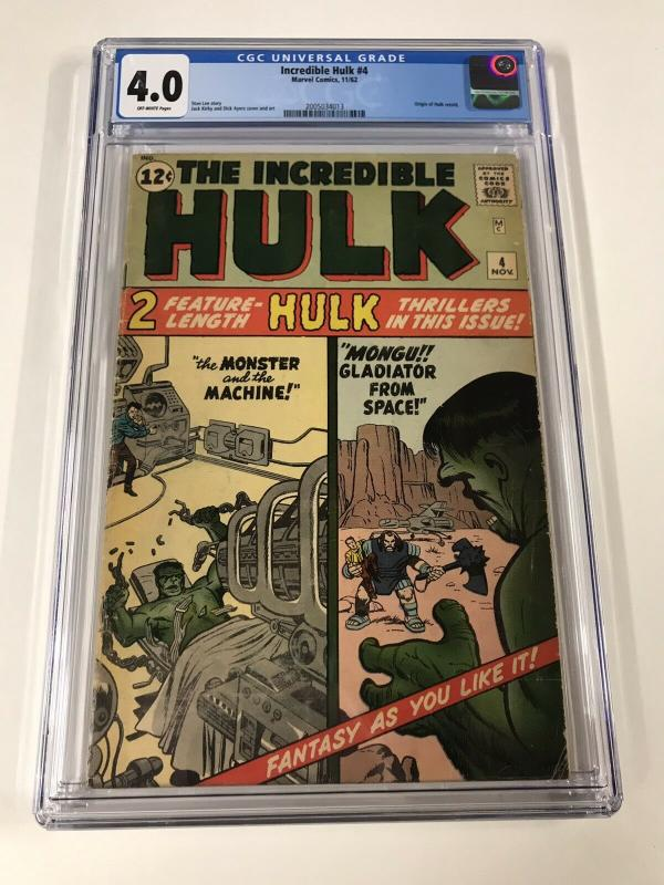Incredible Hulk 4 Cgc 4.0 Ow Pages Marvel Silver Age