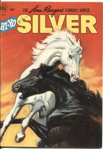 Lone Rangers Famous Horse Hi-Yo Silver-#3 1952-Dell-painted HORSE FIGHT cover-CL